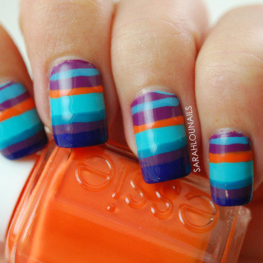 Sunset Stripe Nails nail art by Sarah S