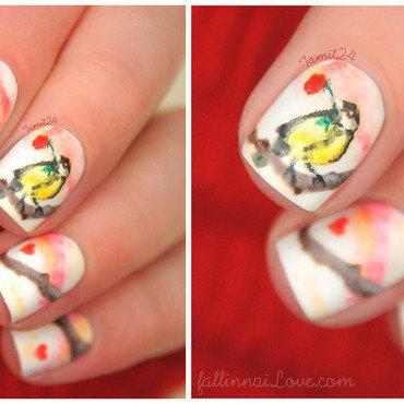 Loved bird nails. nail art by Paulina