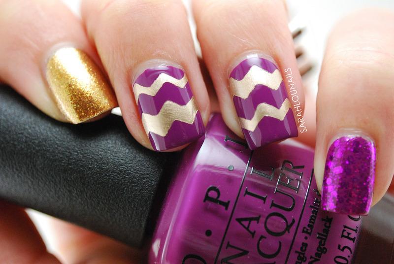Purple & Gold Chevron Nails nail art by Sarah S