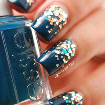 "Glitter Gradient Nails with ""The Living Daylights"" nail art by Sarah S"