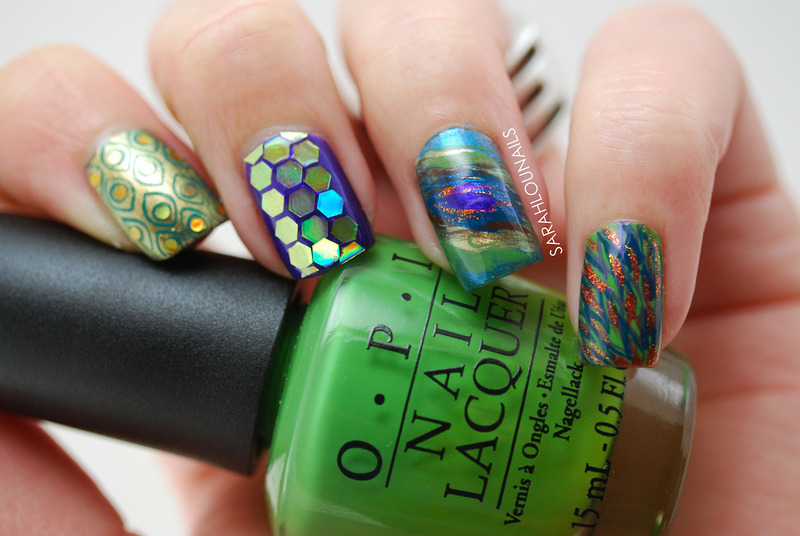 Peacock Nails! nail art by Sarah S
