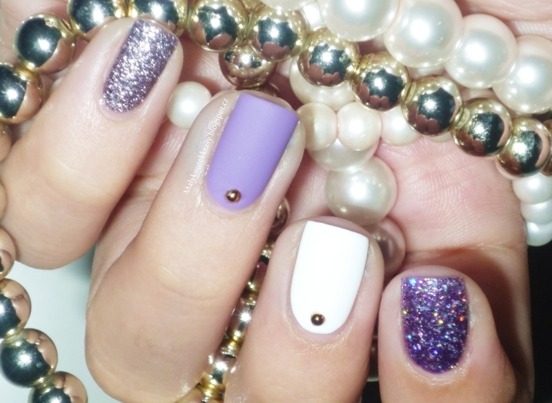 Violet, white, silver & textured nail art by Romana