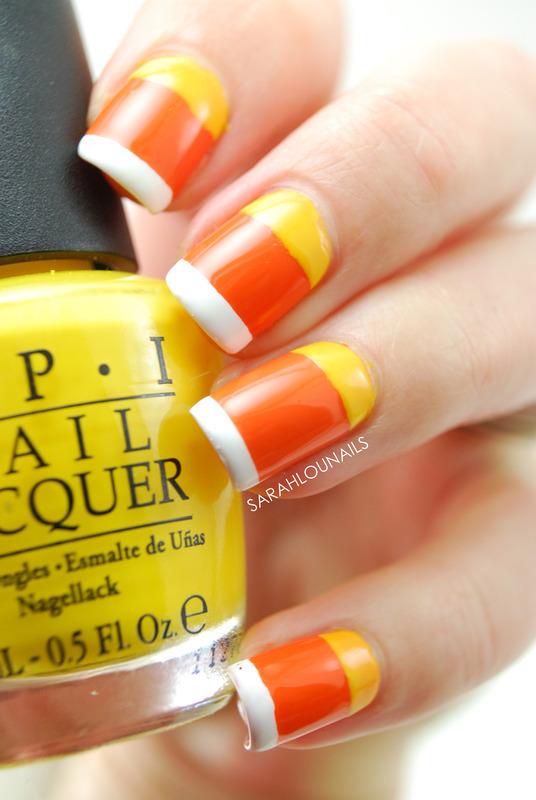 Candy Corn Nails! nail art by Sarah S