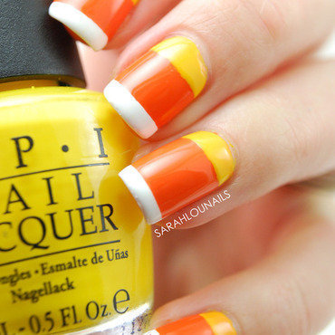 Candy Corn Nails! nail art by Sarah S