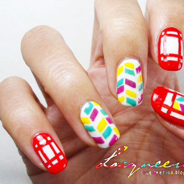 Bright Red Frames nail art by Lacqueerisa