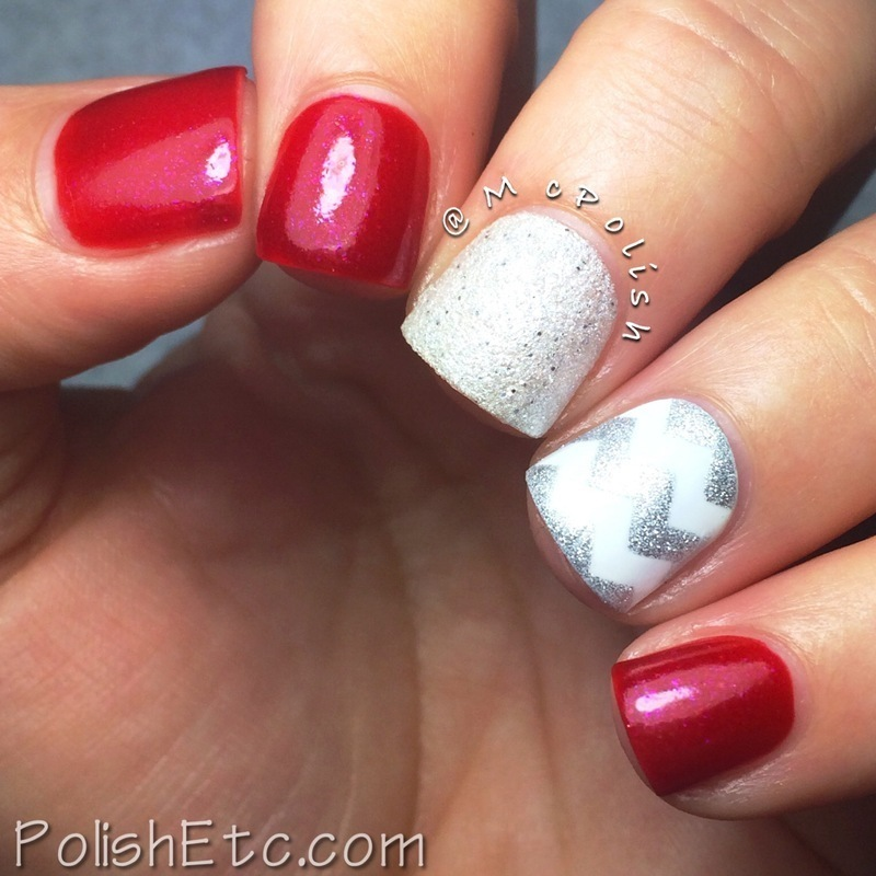 Red and Silver Chevron nail art by Amy McG
