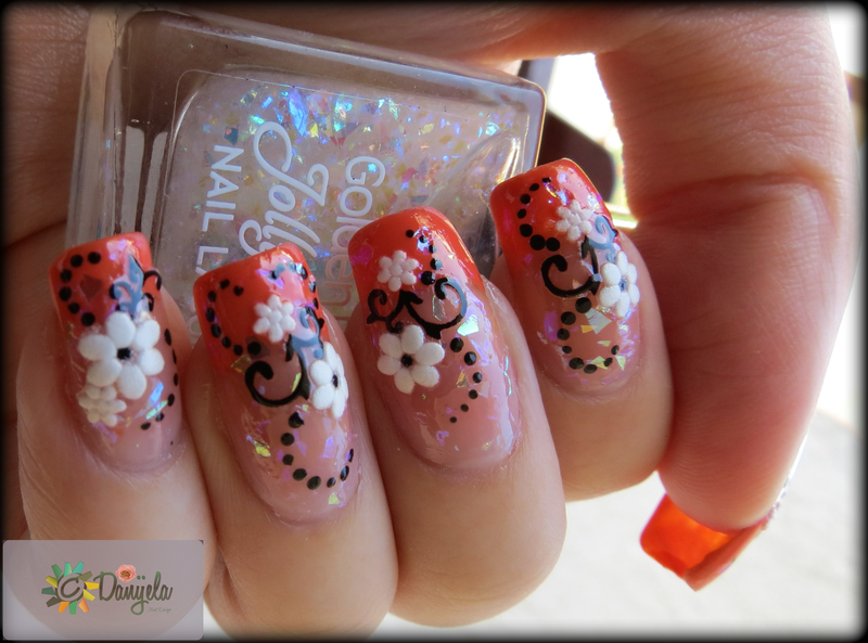 Orange french manicure & spring flowers nail art by bydanijela
