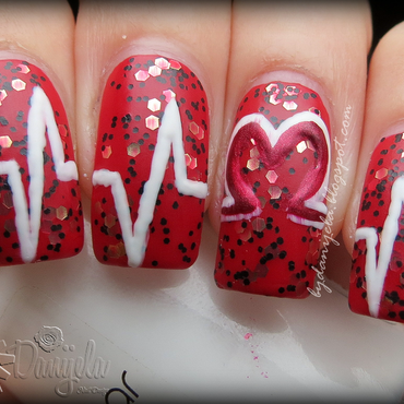 Heart pulse manicure nail art by bydanijela