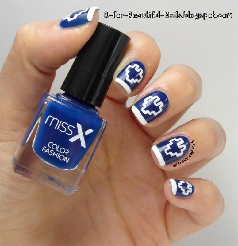 Pixel Hearts Nail Art nail art by B.