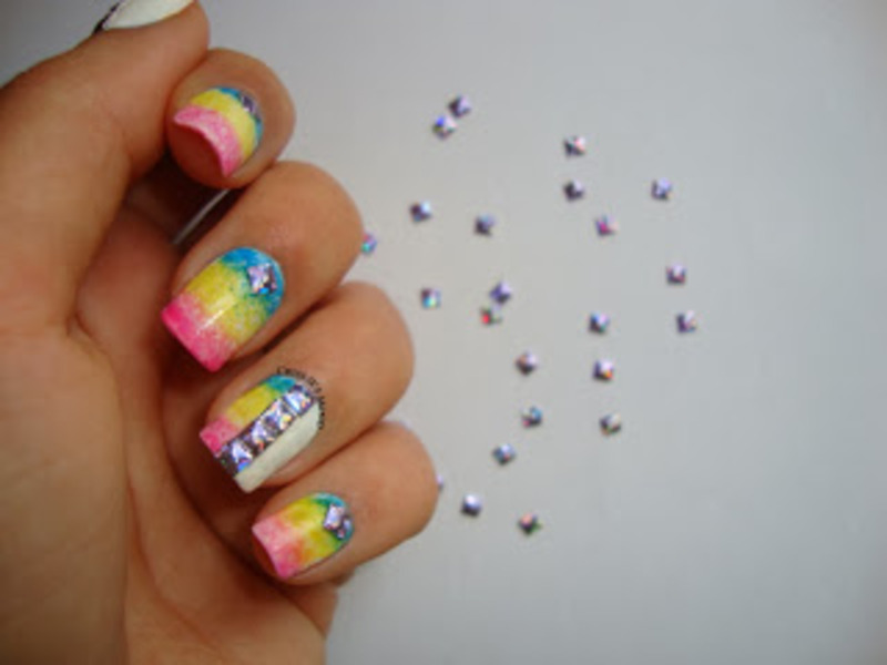 Studs and a Neon Gradient nail art by Christina