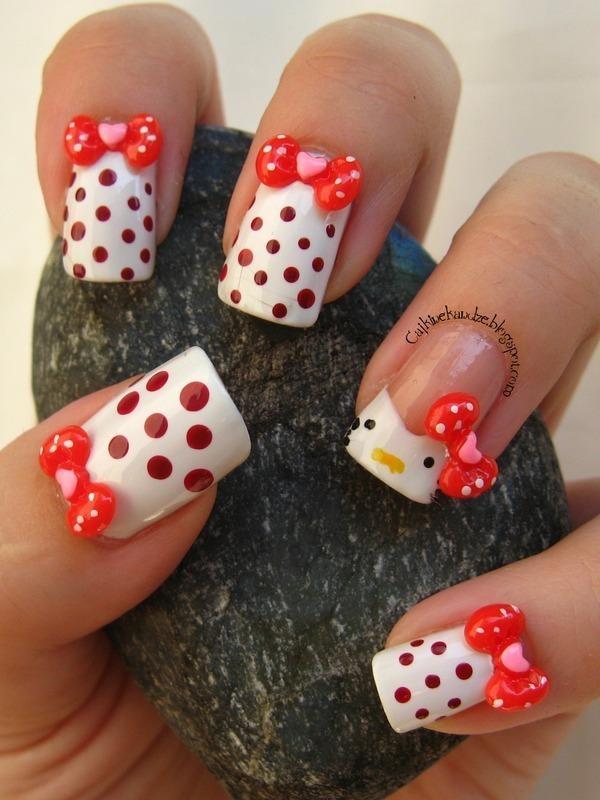 Hello Kitty dotticure nail art by Vedrana Brankovic