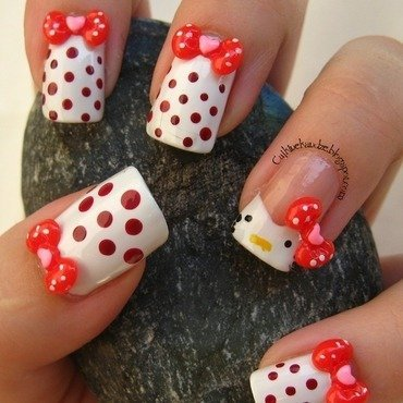 Hello Kitty dotticure nail art by Vedrana Brankovic