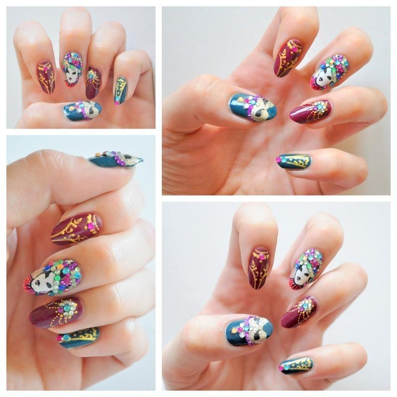 Venice carnival nail art by Tiffany Blue