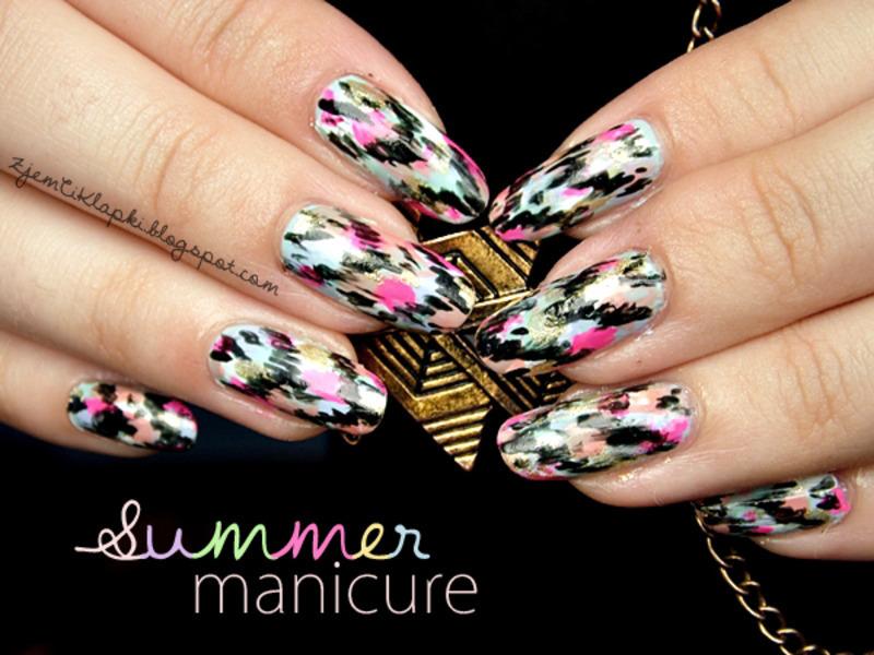 Summer Ikat Manicure nail art by SheLazy