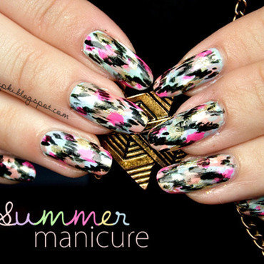 Summer Ikat Manicure nail art by SheLazy