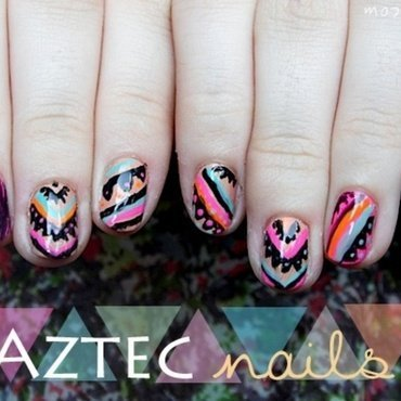 Neon Aztec Nails nail art by SheLazy