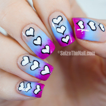 Gradient with cartoon hearts nail art by Bella Seizethenail