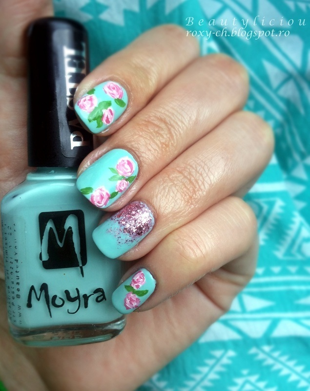 Inspired roses nail art by Roxy Ch
