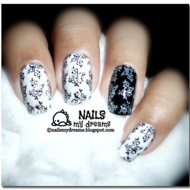 Black and White Nails nail art by Kat of NailsMyDreams