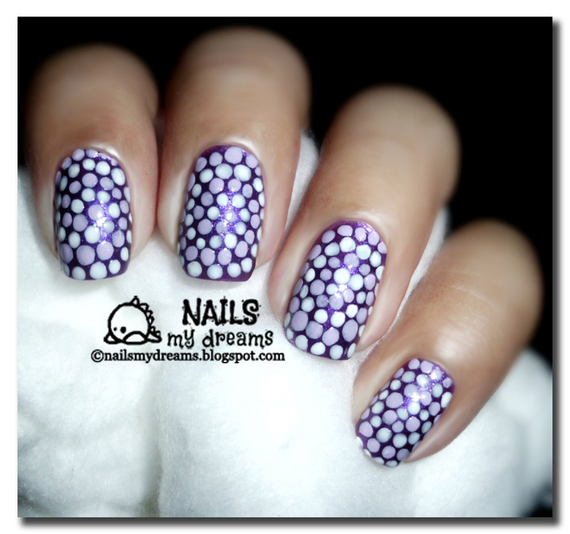 Purple Spiral Dotticure nail art by Kat of NailsMyDreams