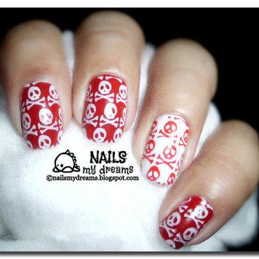 Red and White Skulls nail art by Kat of NailsMyDreams