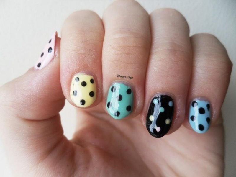 Pastel Polkas nail art by Jacquie