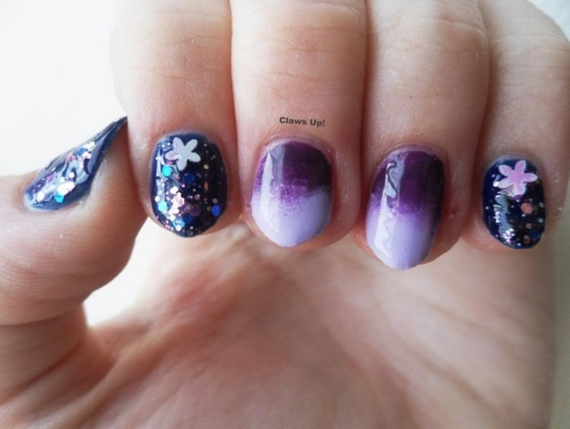 Purples and Blues nail art by Jacquie