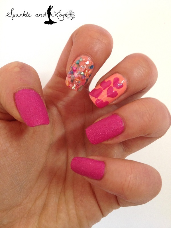 Pink Sorbet nail art by Sparkle  And Love