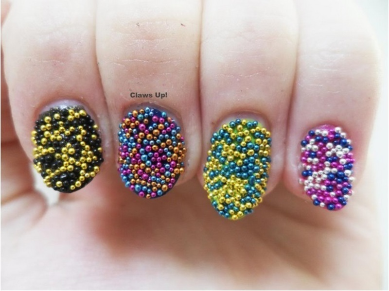 Caviar and Skittles nail art by Jacquie