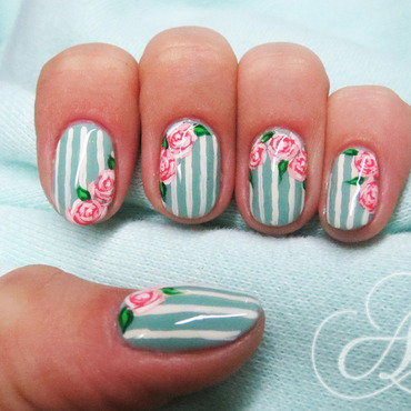 Vintage Roses ❣ nail art by AliceLittleMadness
