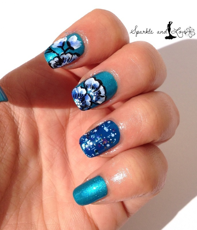 Blue flowers nail art by Sparkle  And Love