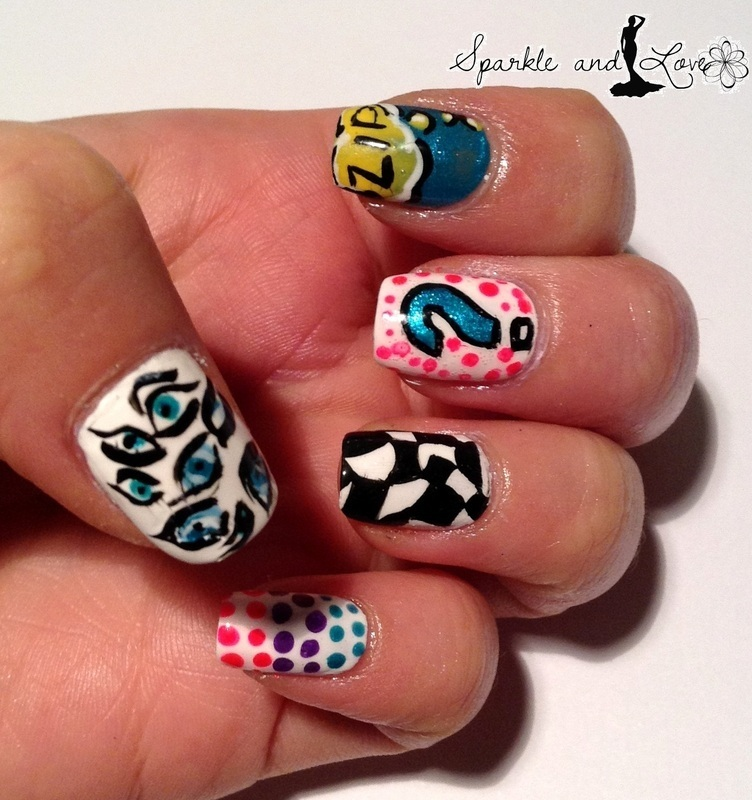 Pop art nails nail art by Sparkle  And Love
