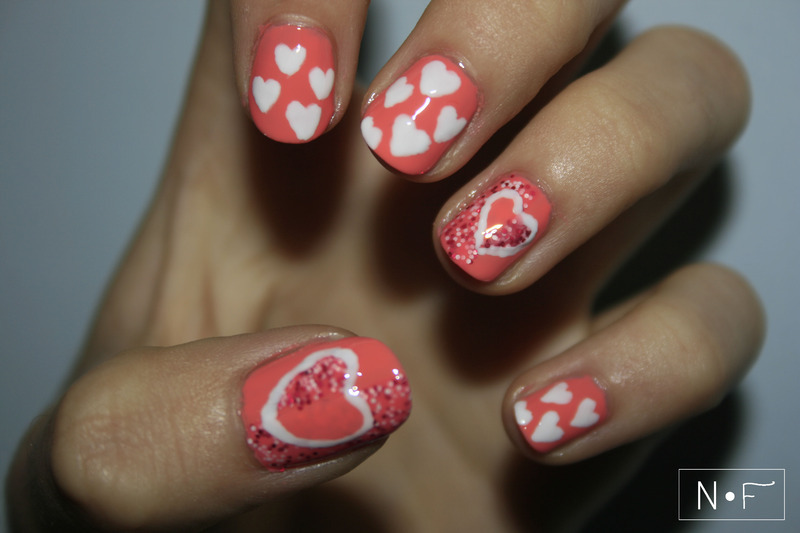 Flipped hearts nail art by NerdyFleurty