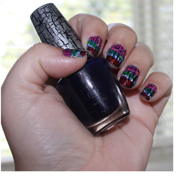 Shattered rainbow nail art by Kristy  Bond