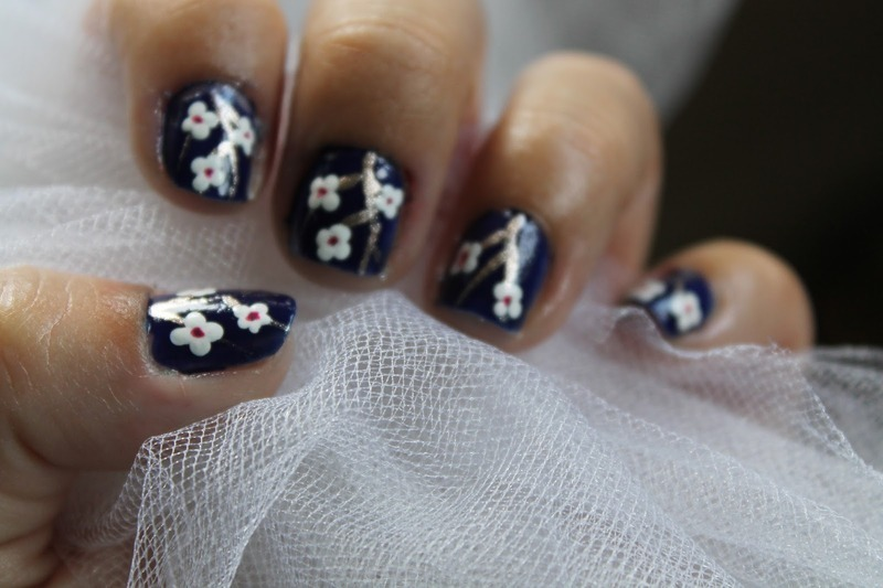 Cherry Blossom Mani nail art by Kristy  Bond