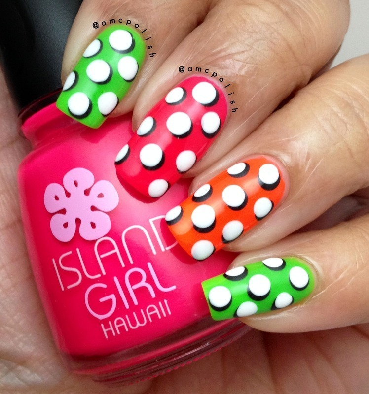 Pop-art Polka Dots nail art by Amber Connor
