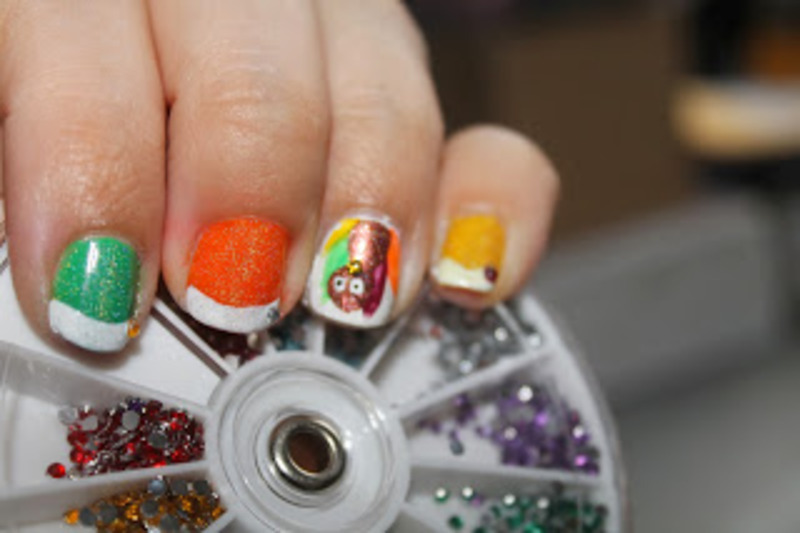 Turkey Day Mani nail art by Kristy  Bond