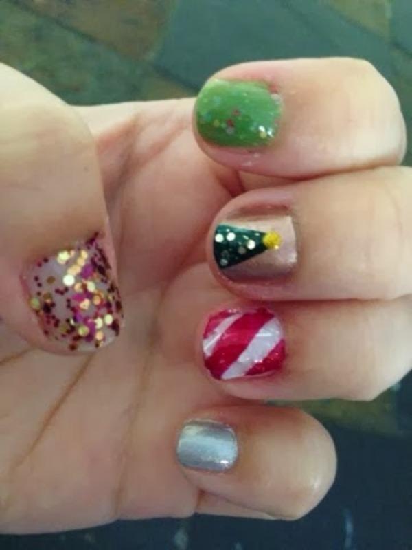 Skittles Christmas nail art by Kristy  Bond