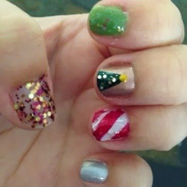Skittles Christmas nail art by Kristy  Bond