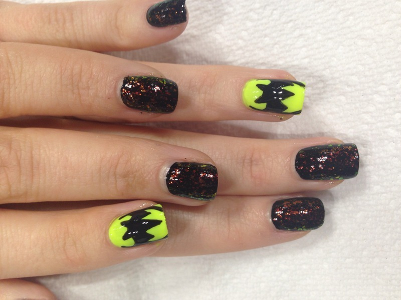 Mrs. Batman nail art by Danielle  Lubin