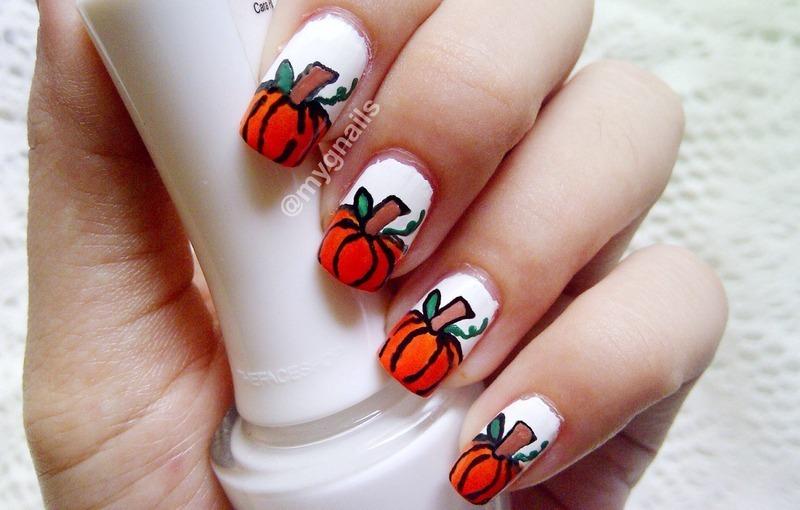 Blushin' Pumpkin nail art by Mayang Anindita