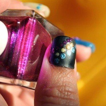 Dots on Tokyo on black nail art by Kristy  Bond
