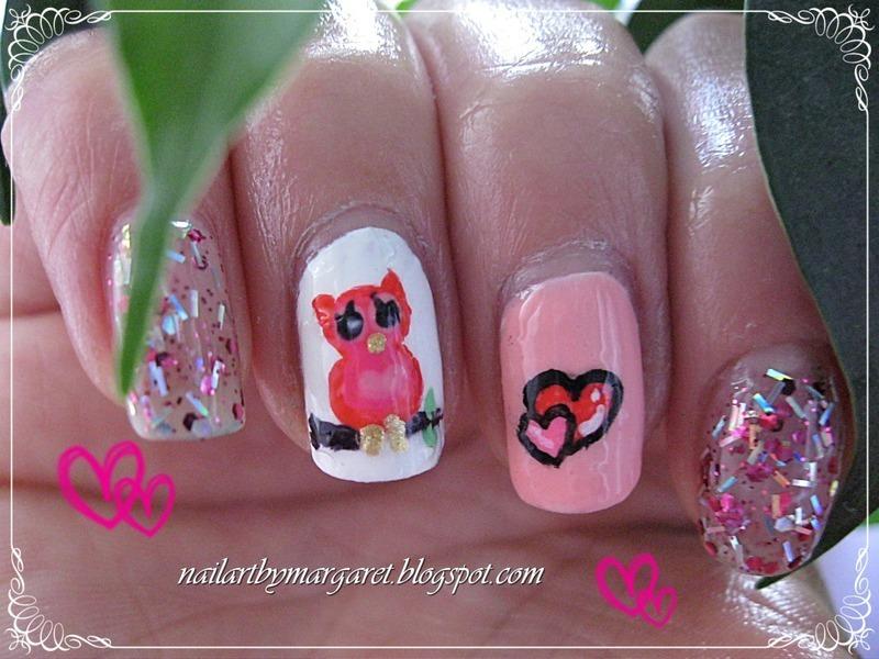 Zakochana Sowa nail art by Margaret Nail Art