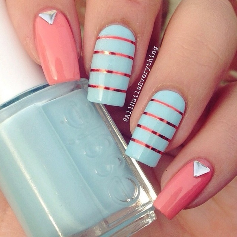 Mint, stripes, & studs nail art by All Nails Everything
