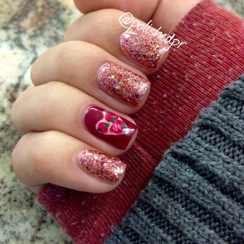Heart + Rose Accent nail art by Jenn Thai