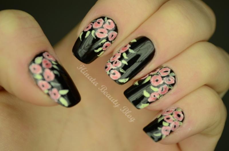 First floral nailart with acrylic paints nail art by Hinata