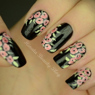First floral nailart with acrylic paints nail art by Hinata
