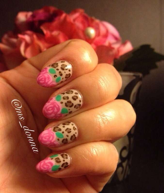Valentine's Leopard & Roses nail art by Donna