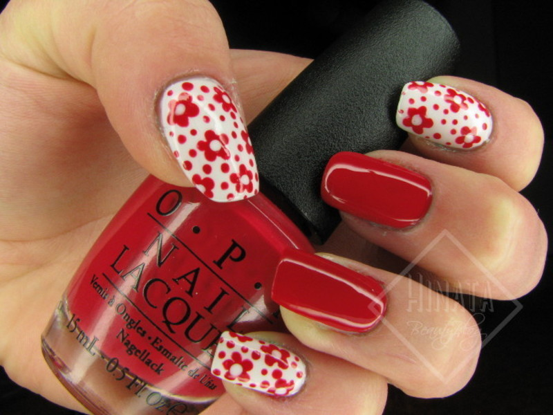 Red and white flowers nail art by Hinata