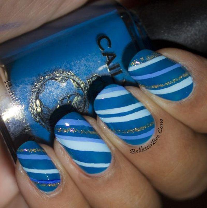 I'm So Blue nail art by Naomi Hing